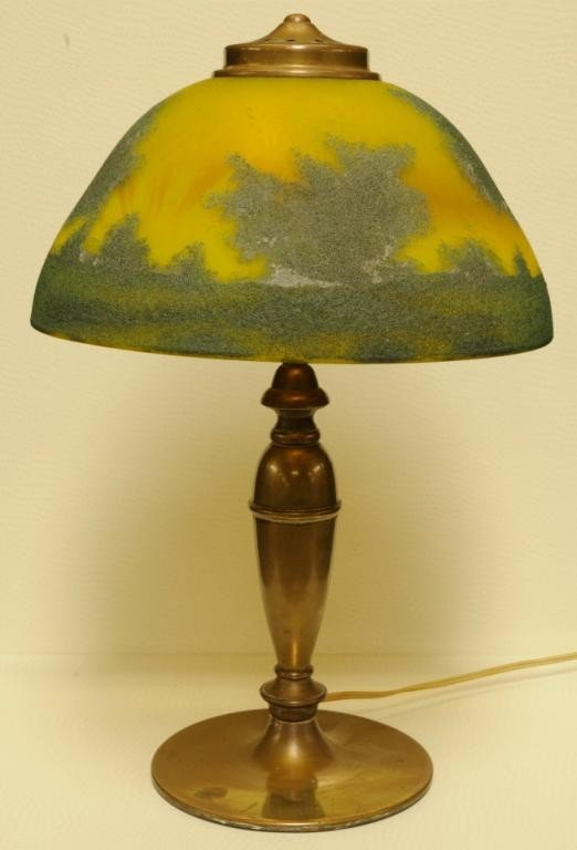 13: Reverse Painted Table Lamp Depicting a woodland sce