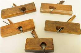 """215: Five Woodworker's Wooden Planes Marked """"H. Chapin"""