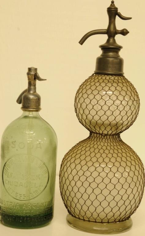 284: Two Vintage Soda/Seltzer Siphon Bottles 1.  French