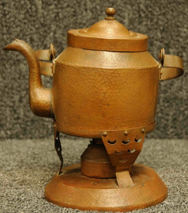 11A: Dovetailed Copper Tea Kettle on Stand