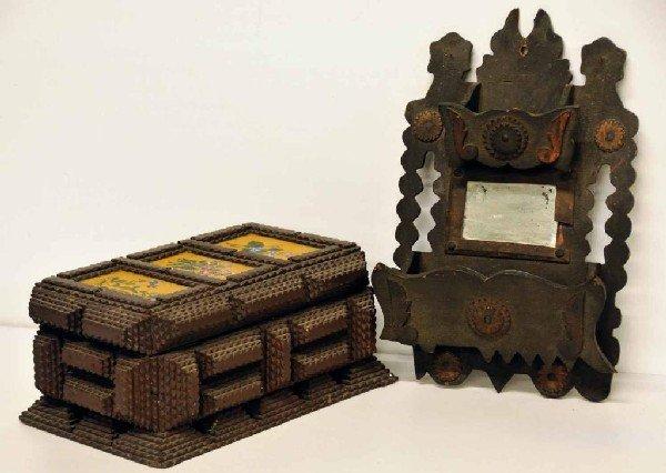 148: Tramp Art Lidded Dresser Box & Comb Box