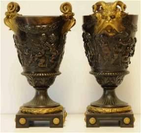 182: Pair French Bronze Dore Urns