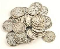 201: 37 Walking Liberty Half Dollars