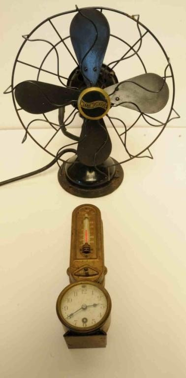 274: Two Items--Vintage Fan & Clock/Thermostat