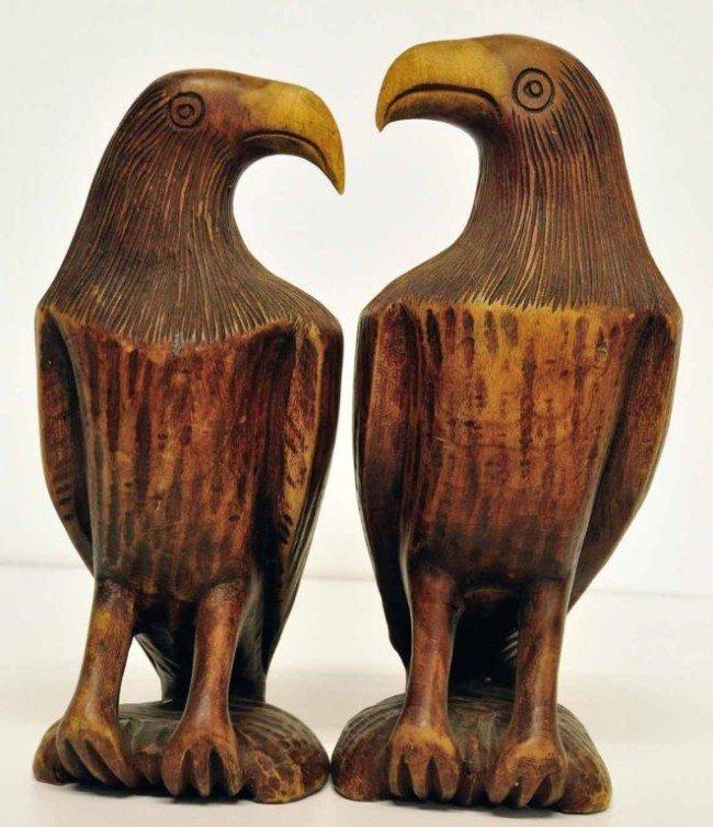 2: Pair of Carved Wood Eagles