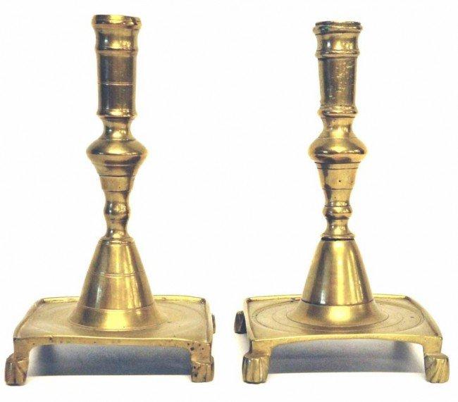 13: Pr. of Early 18th C. Spanish Brass Candlesticks