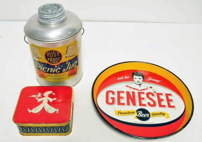 15: 3 Items--Genesee Beer, Picnic Jug, Tin Container