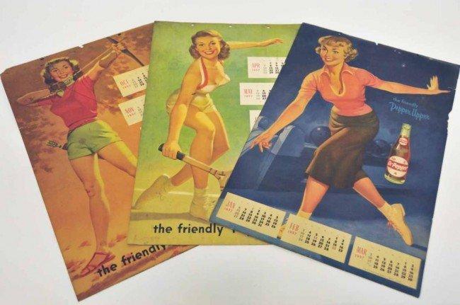 17: 3 Dr Pepper 1957 Advertising Calendars