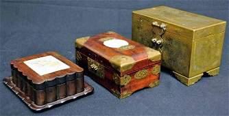 273: Three Chinese Boxes--Wood & Jade, Brass
