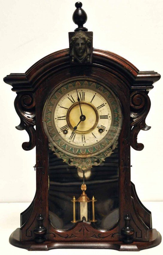 387A: E. N. Welch Mahogany Parlor Mantle Clock