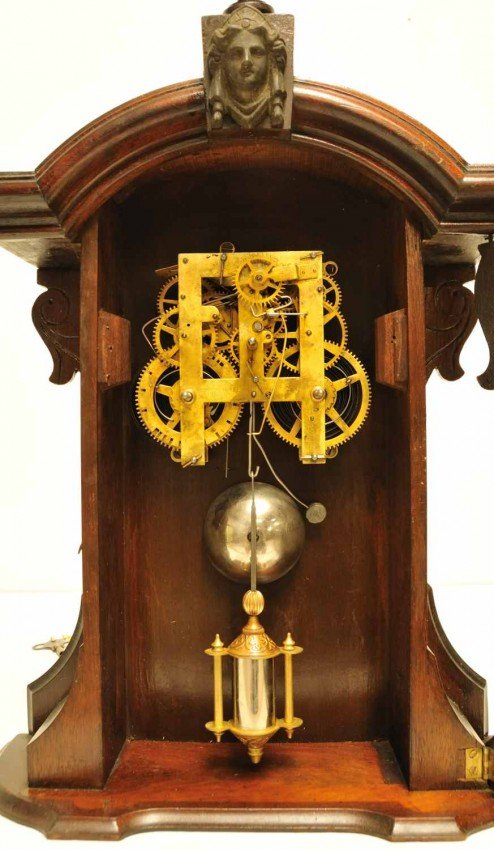 387A: E. N. Welch Mahogany Parlor Mantle Clock - 2