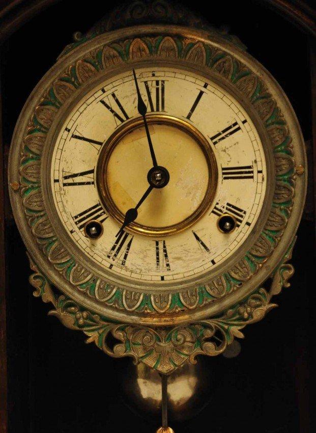 387A: E. N. Welch Mahogany Parlor Mantle Clock - 3