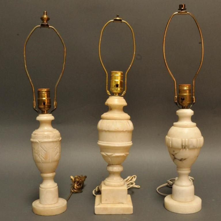5: Three Marble Urn Form Table Lamps