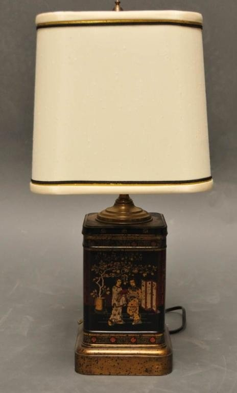 20: Chinoiserie Style Tin Tea Canister Lamp