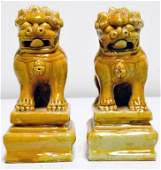 24 Pr of Chinese Yellow Glazed Ceramic Foo Dogs