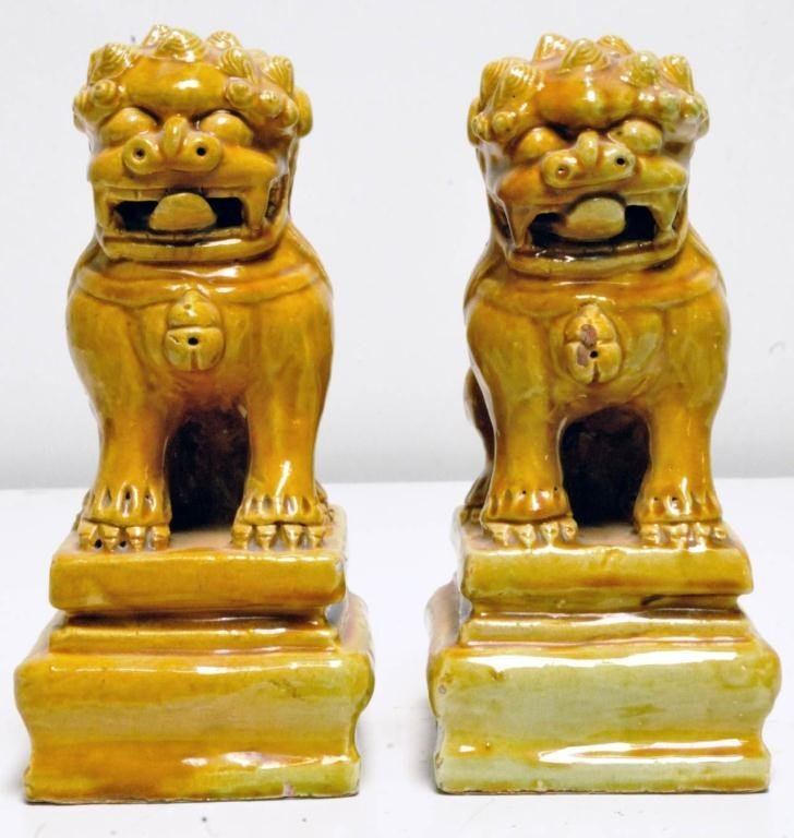 24: Pr. of Chinese Yellow Glazed Ceramic Foo Dogs