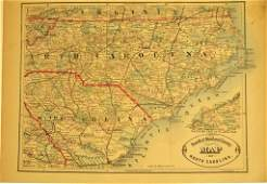 38: 19th C. New Rail Road & County Map of N. Carolina