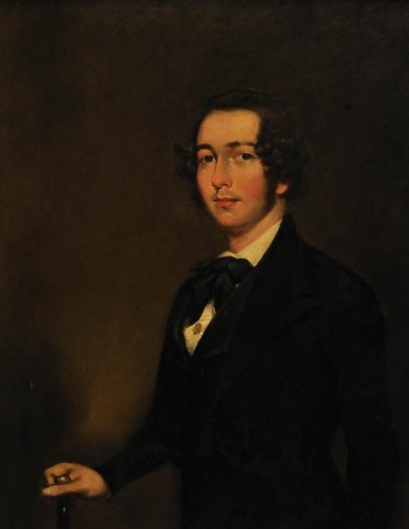 132: C. 1840 Portrait of Young Gentleman with Cane