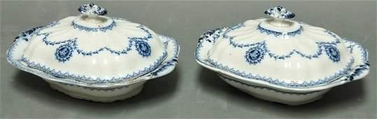 397: Pr. of Flow Blue Covered Vegetable Bowls