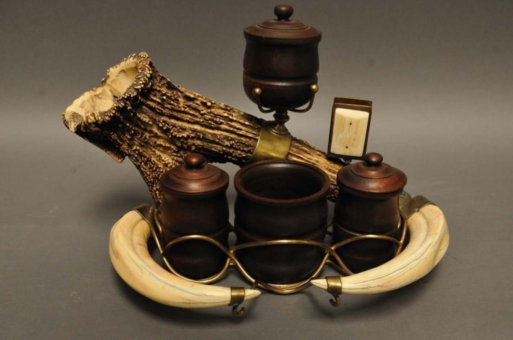 12: Antler, Tusk & Brass Mounted Smoking Stand