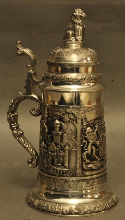 "14: Ornate ""Bayern"" German Pewter Stein"