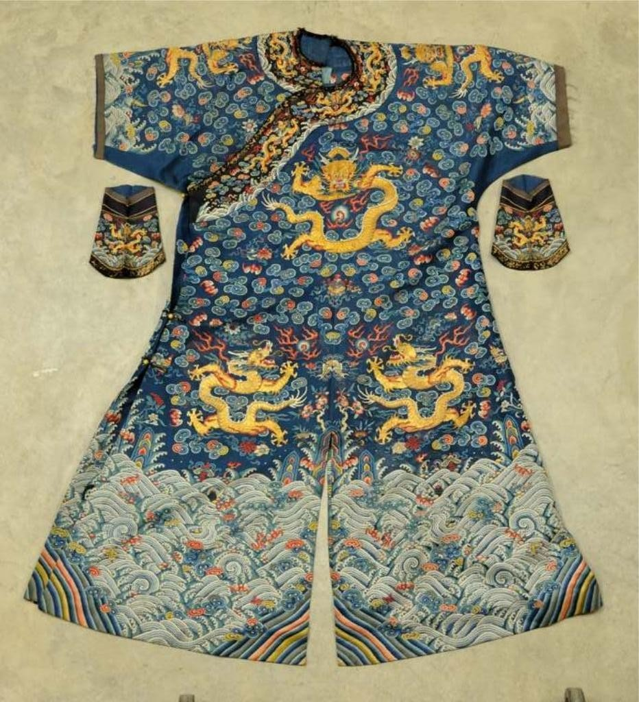 48: Chinese Gold Dragon Heavily Embroidered Robe