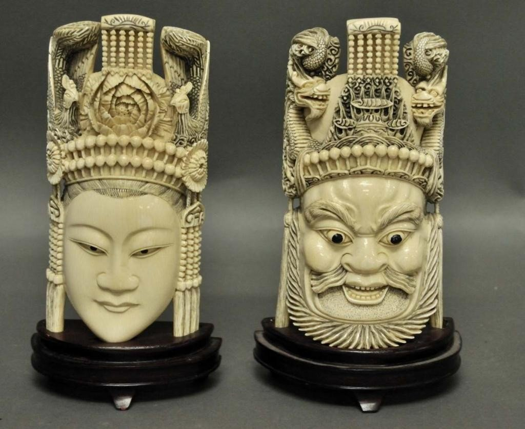 1: Pr. of Chinese Carved Ivory Standing Masks