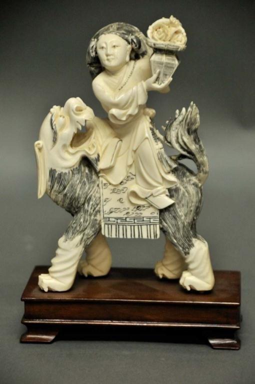 3: Chinese Carved Ivory Foo Dog & Female Figure
