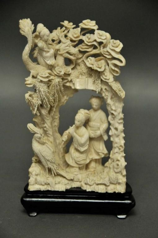 5: Signed Chinese Carved Ivory Figural Group