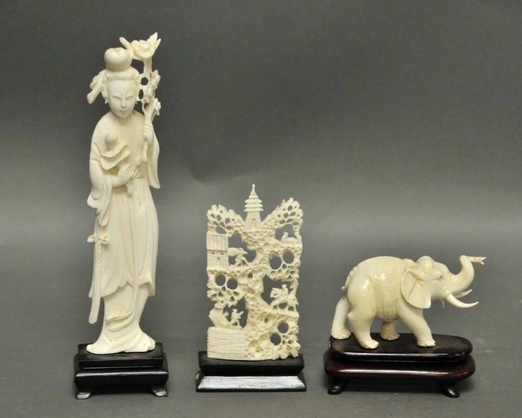 6: Three Chinese Carved Ivory Figures