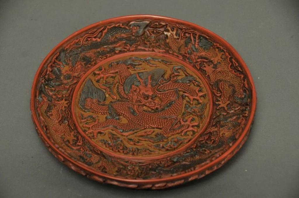 8: Signed Chinese Cinnabar Carved 'Dragon' Plate