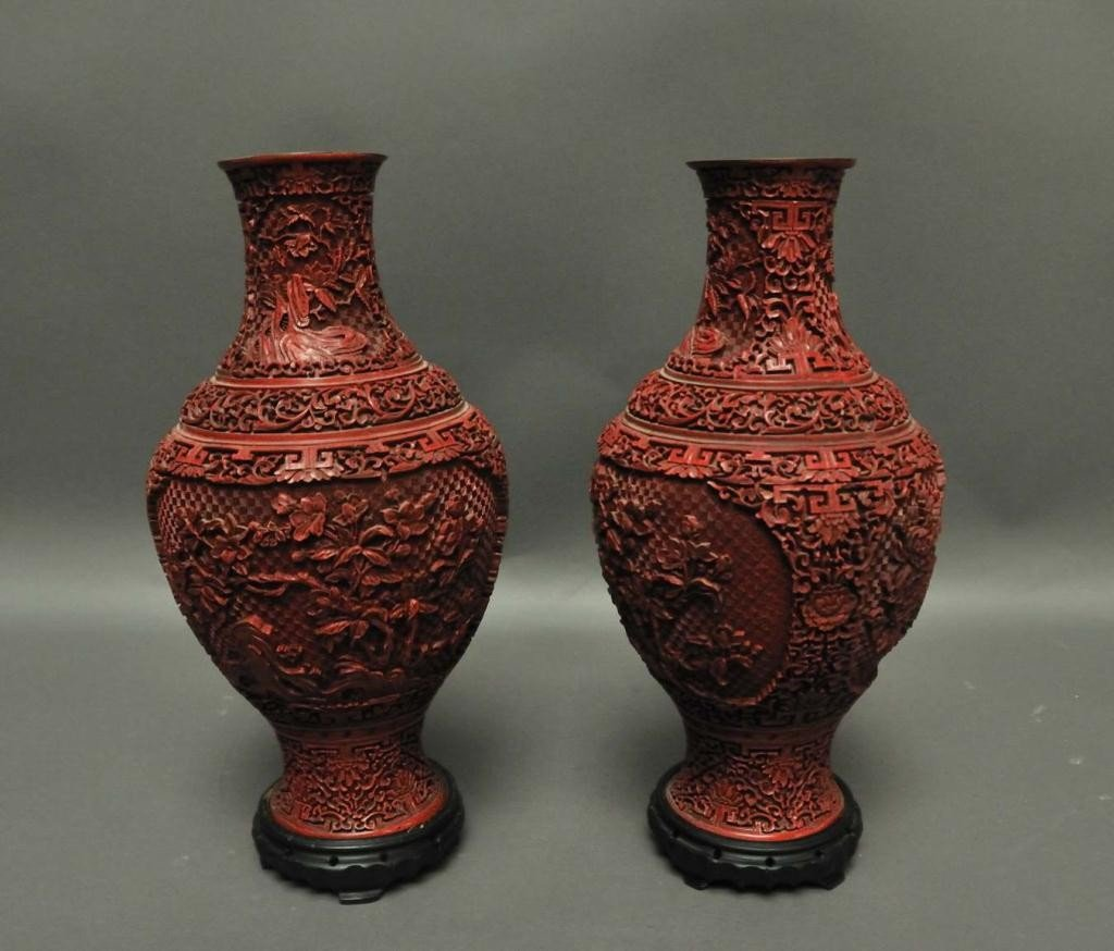 9: Pair of Large Chinese Cinnabar Vases