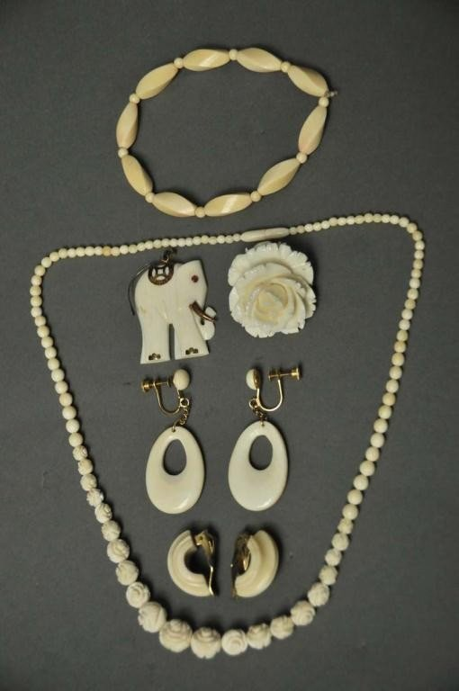 10: Group of Carved Ivory Jewelry