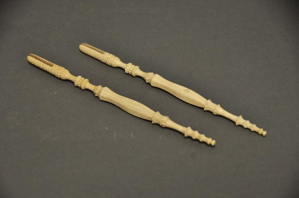 11: Pair of Carved Ivory Fan Handles
