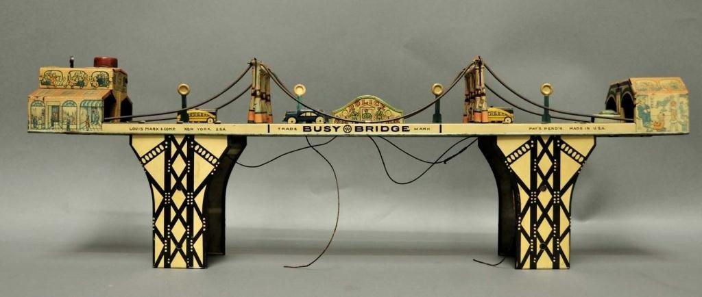 "66: Marx Tin Wind Up ""Busy Bridge"" Toy"