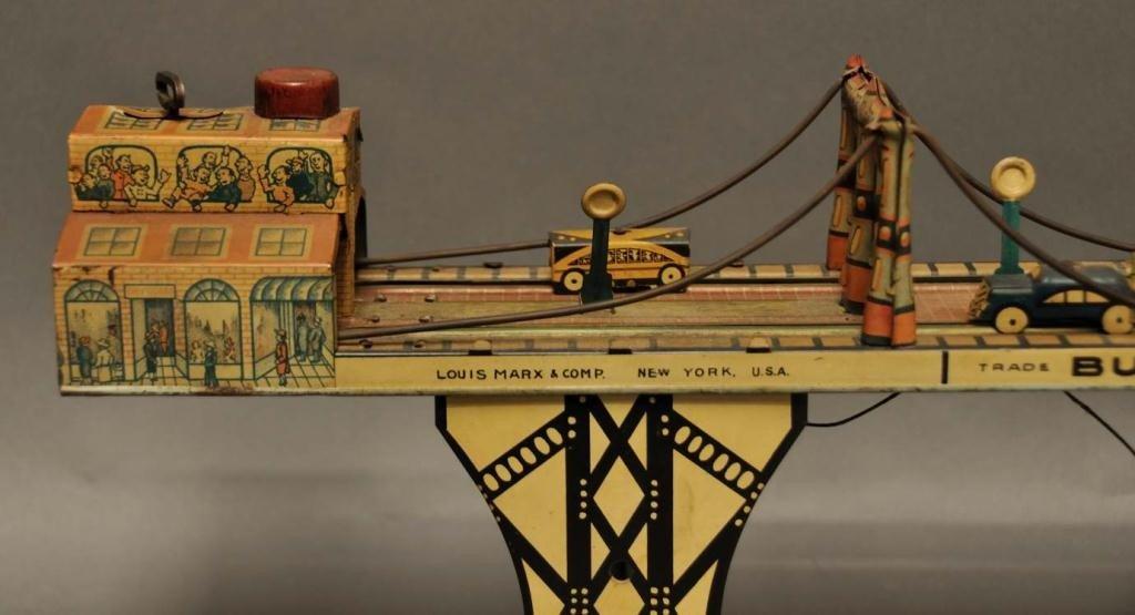 "66: Marx Tin Wind Up ""Busy Bridge"" Toy - 2"