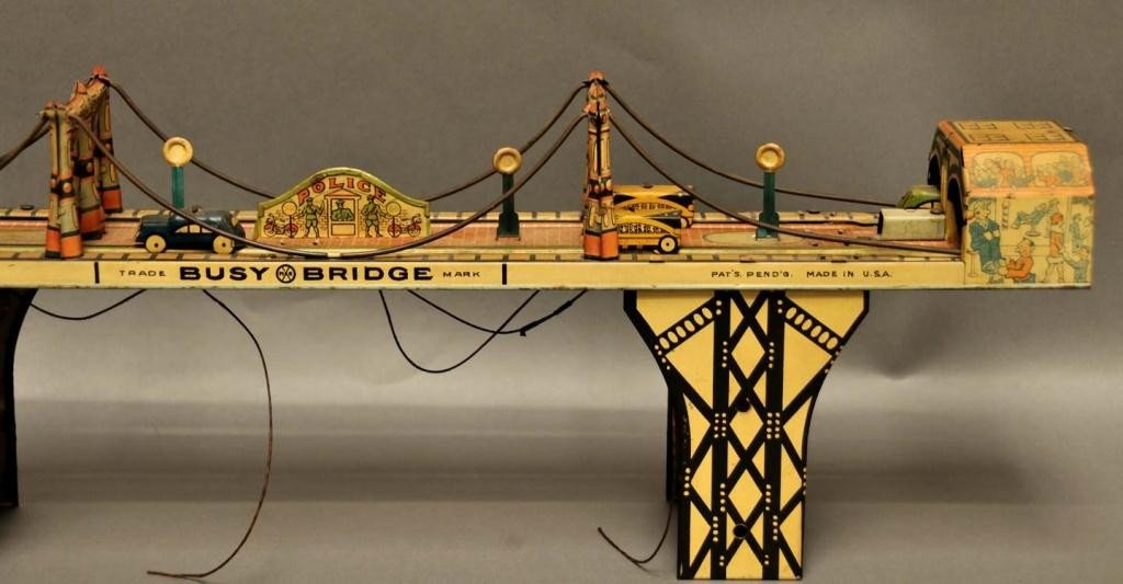 "66: Marx Tin Wind Up ""Busy Bridge"" Toy - 3"