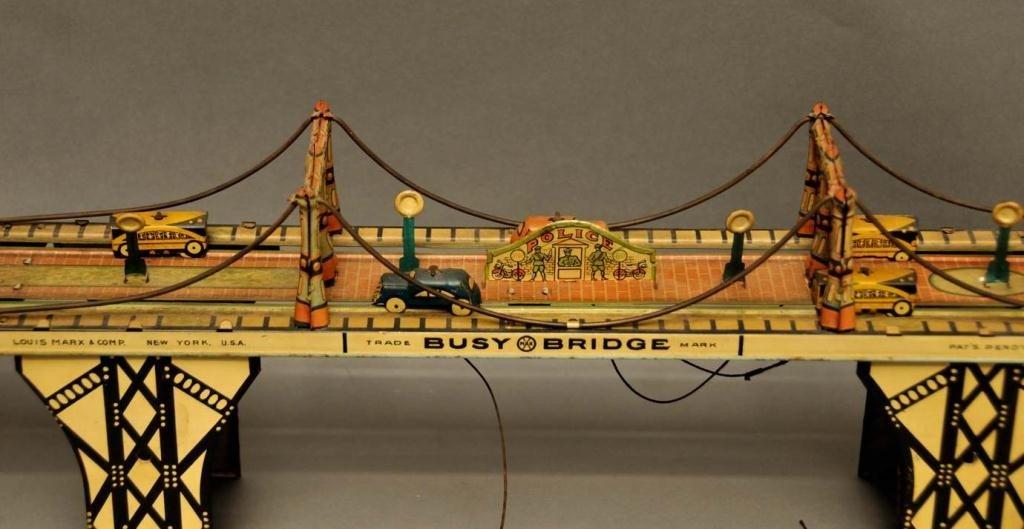 "66: Marx Tin Wind Up ""Busy Bridge"" Toy - 4"