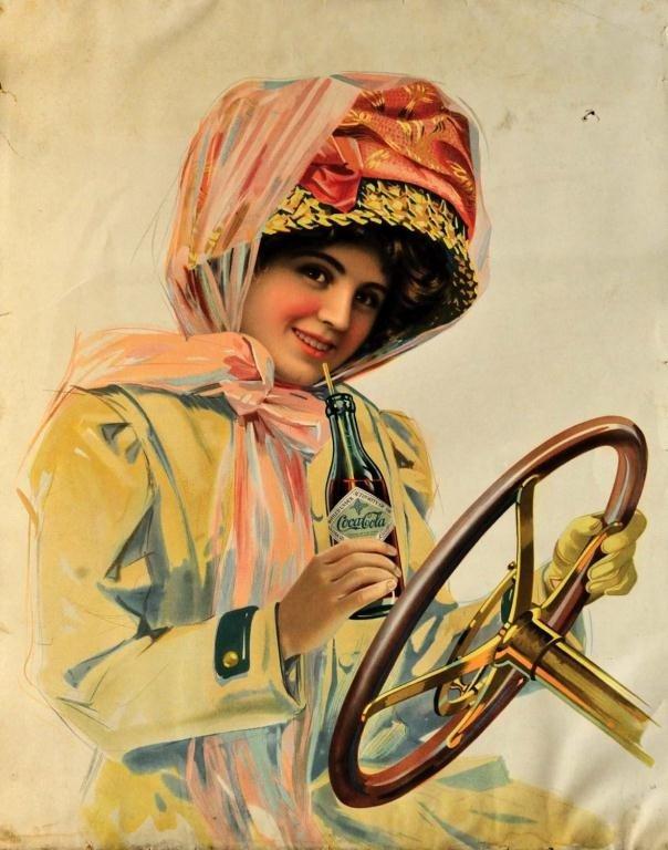 174: Original 1911 Coca-Cola Motor Girl Lithograph