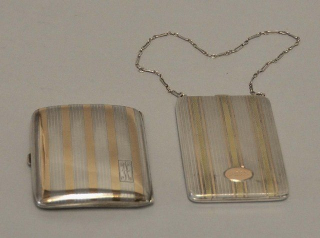 11: Two Art Deco Sterling/14K Gold Cases