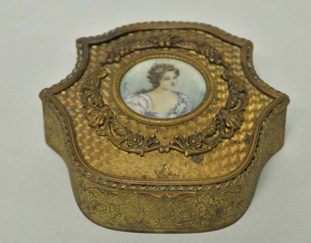 15: French Gilt Metal Jewelry Casket