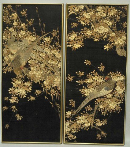 18: Pr. of Oriental Embroidered Silk Panels