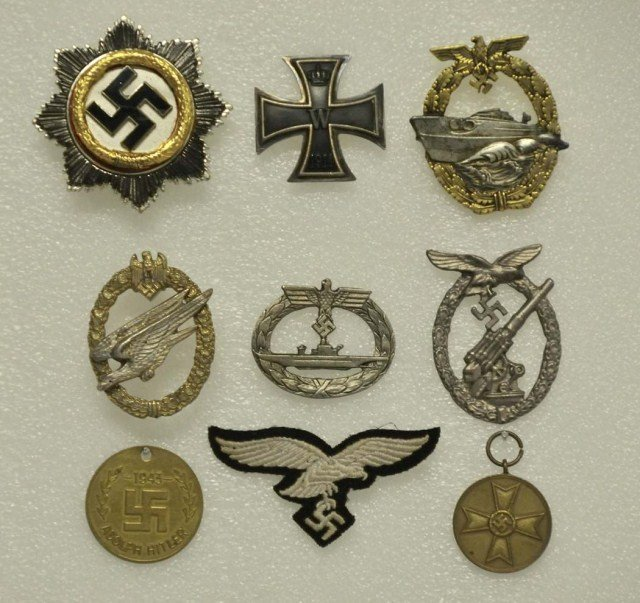42: 8 WWII German Medals & One Cloth Insignia