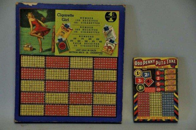 "16: Cigarette Girl & ""Odd Penny"" Punch Boards"