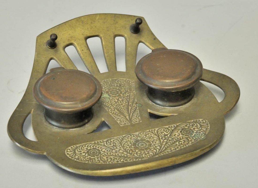 98: Austrian Art Nouveau Geschutzt Bronze Inkwell