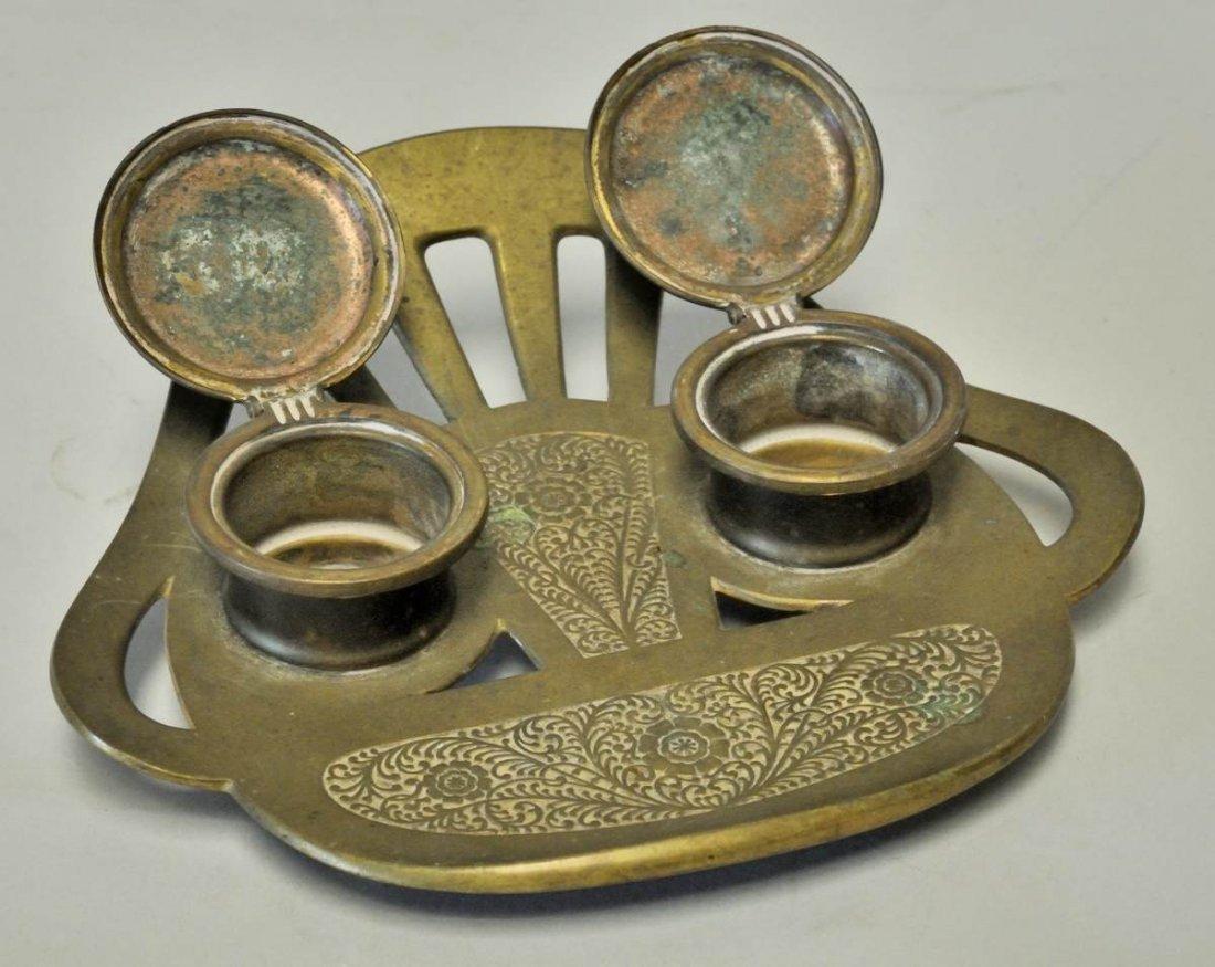 98: Austrian Art Nouveau Geschutzt Bronze Inkwell - 2