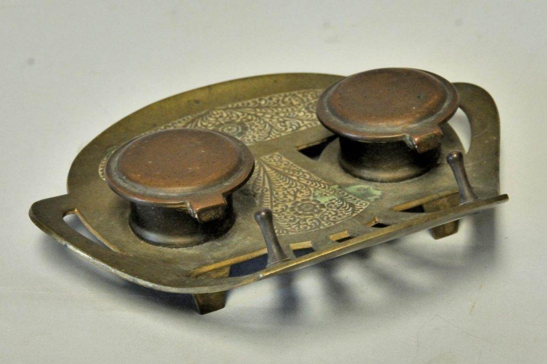 98: Austrian Art Nouveau Geschutzt Bronze Inkwell - 3