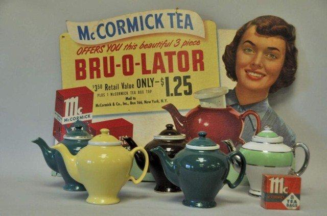 230: McCormick Tea Advertising Sign w/ Five Teapots