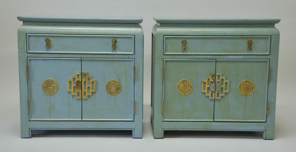 Pr. of Chinese Style Painted Side Cabinets