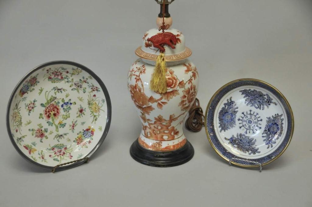 Ginger Jar Lamp and Two Porcelain Bowls